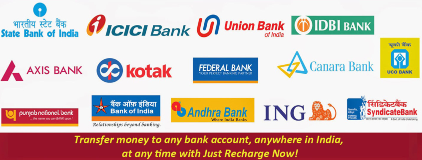 Transfer money to any bank account, anywhere in India, at any time with Just Recharge Now!